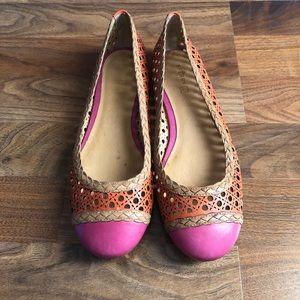 Sperry Pink Orange Wicker Leather Clara Flats 10